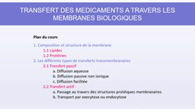 Cours n°1 - Absorption - transfert membranaire